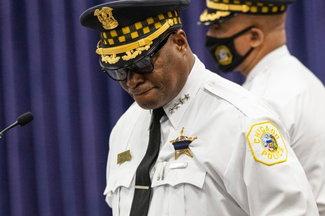 Chicago Police Supt. David Brown takes a moment as he provides an update on the shooting of two police officers in West Englewood during a press conference at CPD headquarters in Bronzeville, Sunday, Aug. 8, 2021.