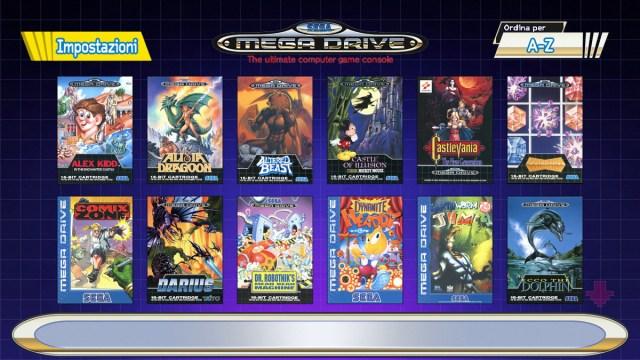 Sega Genesis Mini games list viewed in Italy region
