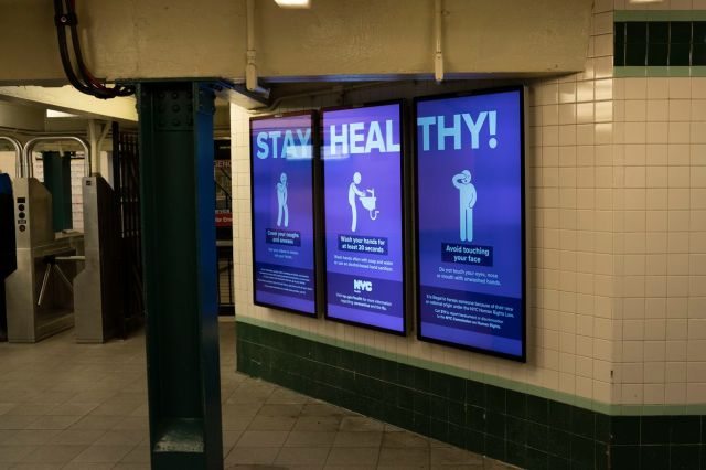 Stay Healthy Electronic Warning Signs IN New York Subways