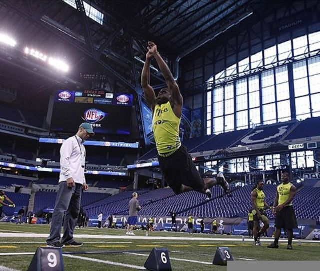 Feb 28 2012 Indianapolis In Usa Lsu Tigers Defensive Back Morris Claiborne Does The Broad Jump During The Nfl Combine At Lucas Oil Stadium