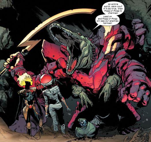 Pogg Ur-Pogg brandishes his sword, Pogg Ur-Pogg, as he declares that he will join the swordbearers of Arakko, in X of Swords: Stasis, Marvel Comics (2020).