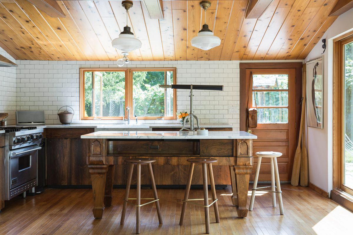 designing a kitchen french country lighting fixtures design ideas tips and advice curbed this wood centric definitely matches the groovy vibe of midcentury cabin it serves photo by ball albanese