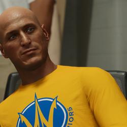 """Andre """"Vlad the Impaler"""" Hagi (Dylan Kenin) was a big-man NPC in <em>NBA 2K19</em>. He's back, balder, and older in <em>NBA 2K21 </em>as a teammate."""