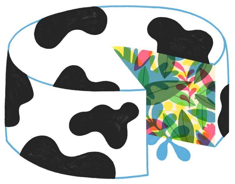 An illustration of a wheel of cheese with a wedge cut out; the outside of the cheese is patterned like a black-and-white cow; the inside is covered in plants.