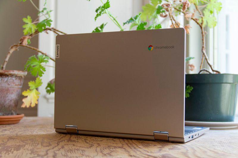 Il Chromebook Lenovo Ideapad Flex 3 è aperto, visto da dietro, leggermente inclinato a destra, su un tavolo davanti a due piante d'appartamento.