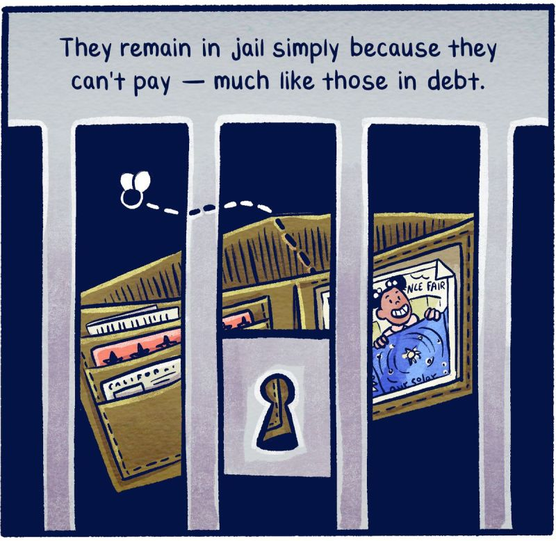 They remain in jail simply because they can't pay — much like those in debt.