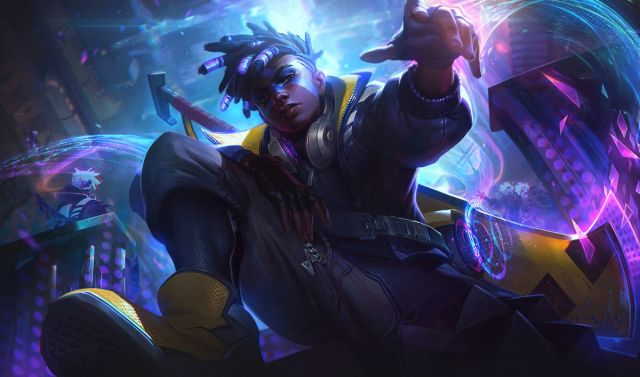 True Damage Ekko poses in a cyberpunk-looking area with lots of pink and blue lights