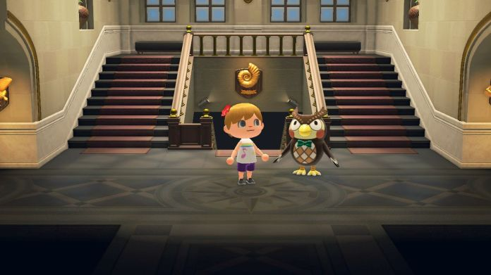 my Animal Crossing: New Horizons villager visits Blathers' museum.
