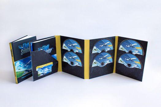 The 10 discs included in the Microsoft Flight Simulator Premium Deluxe Retail Edition