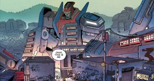 """""""Okay, this is me,"""" says a character. Their apartment is a massive mech robot in seated position, in Giga #1, Vault Comics."""