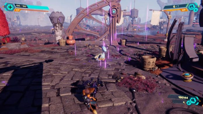 A statue of Bentley in Ratchet & Clank: Rift Apart