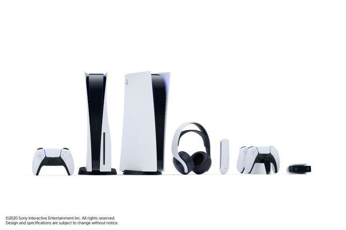 PlayStation 5 hardware and accessories: from left to right, the DualSense controller, PS5 (standing vertically), PS5 Digital Edition (standing vertically), Pulse 3D Wireless Headset, Media Remote, DualSense Charging Station, and HD Camera