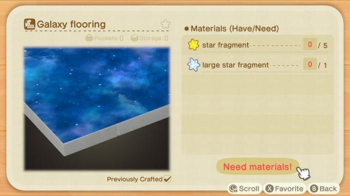 A recipe list for a Galaxy Flooring