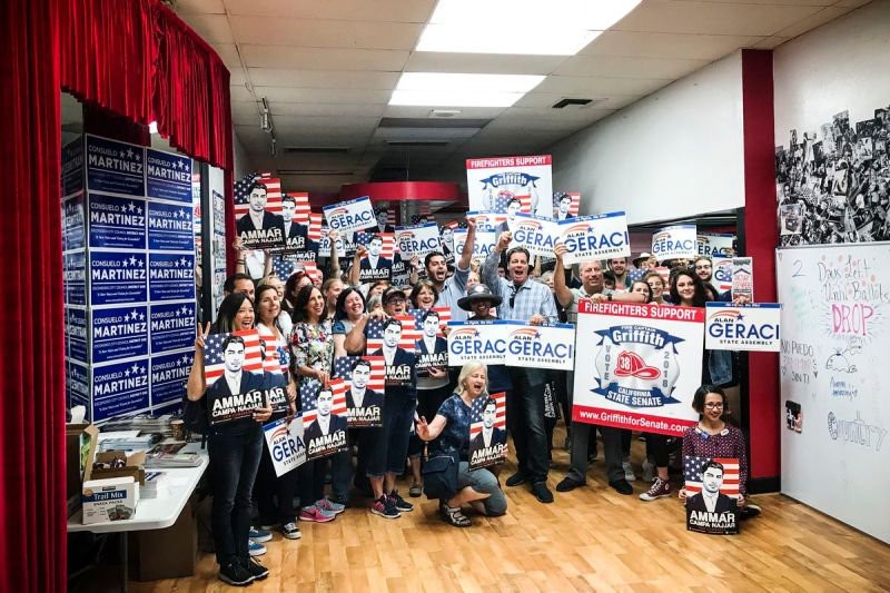 Campa-Najjar holds a rally in Escondido, California with local Democratic candidates and 70 volunteers before a two-hour door knocking session.
