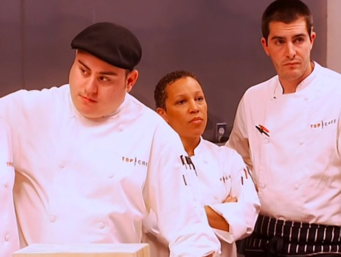 top chef season 1 cast all glaring at each other