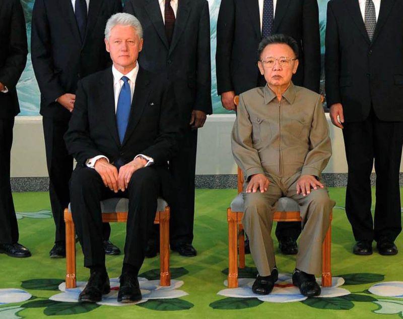 Former President Bill Clinton alongside the late North Korean leader Kim Jong Il on August 4, 2009.