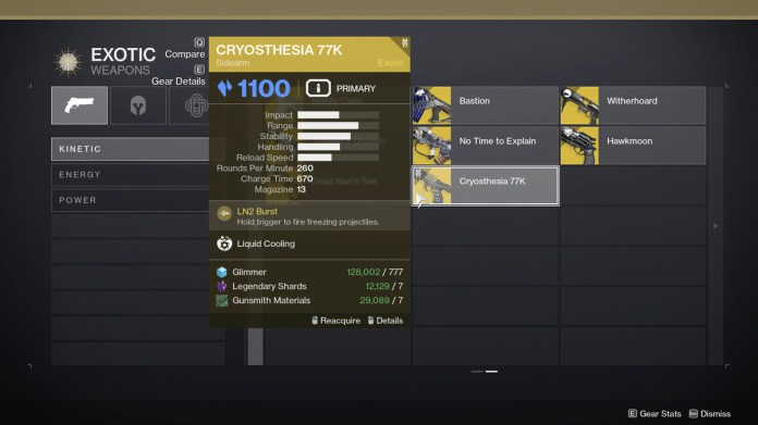 Kinetic Exotic collection in Destiny 2: Season of the Splicer
