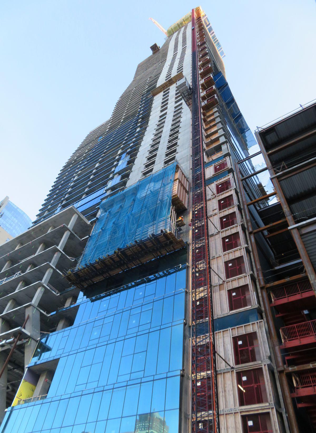 Vista Tower begins installing its longawaited curtain