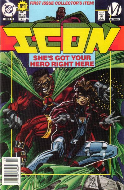 The cover of Icon #1 features Icon, a Black male superhero in a red costume with a voluminous green cape, and Rocket, a younger Black teen girl in a futuristic getup with a red jacket over it. Milestone Comics (1993).