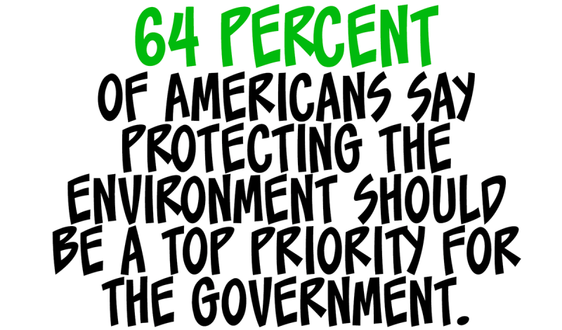 64 percent of Americans say protecting the environment should be a top priority for the government.