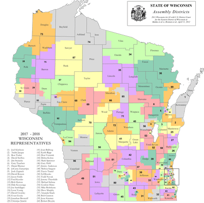 The Wisconsin state assembly districts being challenged.