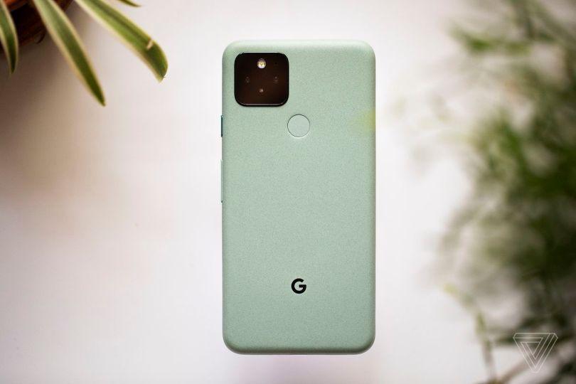 "The Google Pixel 5 in ""Sorta Sage"" green"