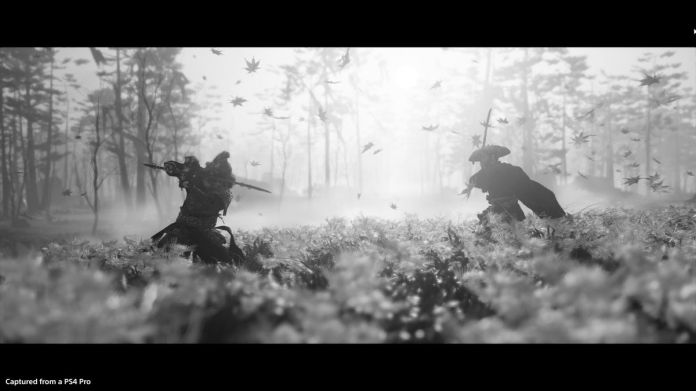Two samurai fight in black and white in Ghost of Tsushima