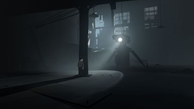 a robot shines a single eyebeam light in the darkness of a warehouse