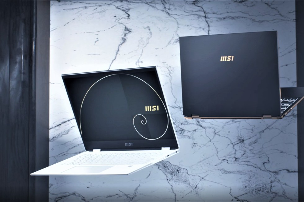The MSI Summit E13 Flip Evo and E16 Flip on a black and white marble background.