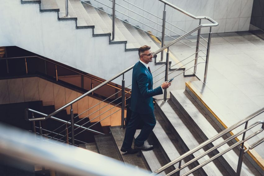 Taking the stairs is a great way to increase the amount of physical activity in your day.