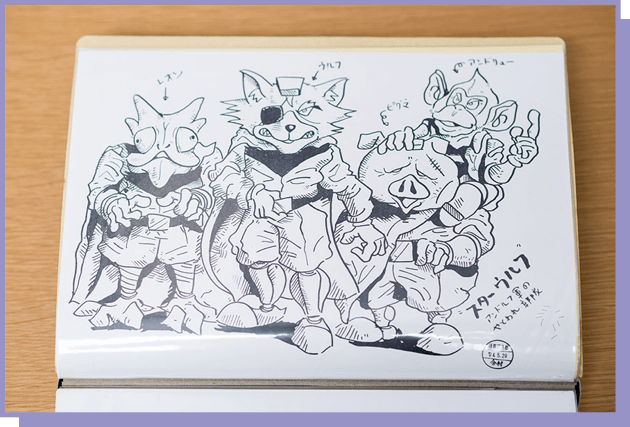 freehand sketch of four anthropomorphic cartoon animals (an iguana, wolf, pig and monkey)