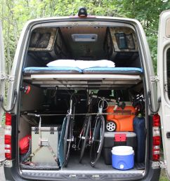 the rear view of a mercedes sprinter van outfitted with a modular camper kit from adventure wagon all photos courtesy of adventure wagon [ 1200 x 800 Pixel ]