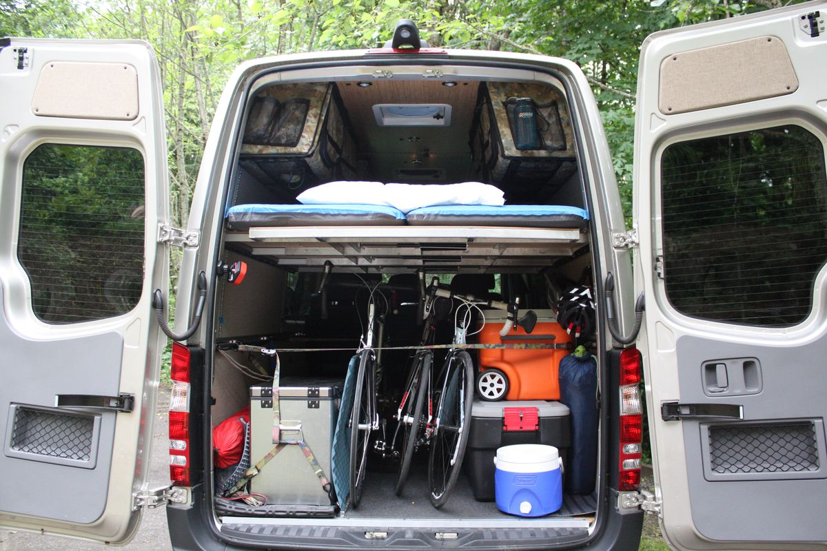 hight resolution of the rear view of a mercedes sprinter van outfitted with a modular camper kit from adventure wagon all photos courtesy of adventure wagon
