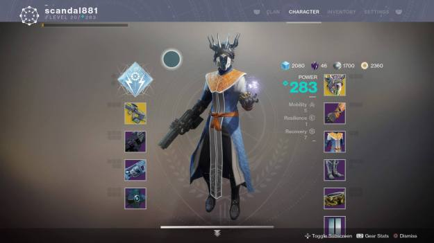 Destiny 2 - character screen of Warlock at 283 power