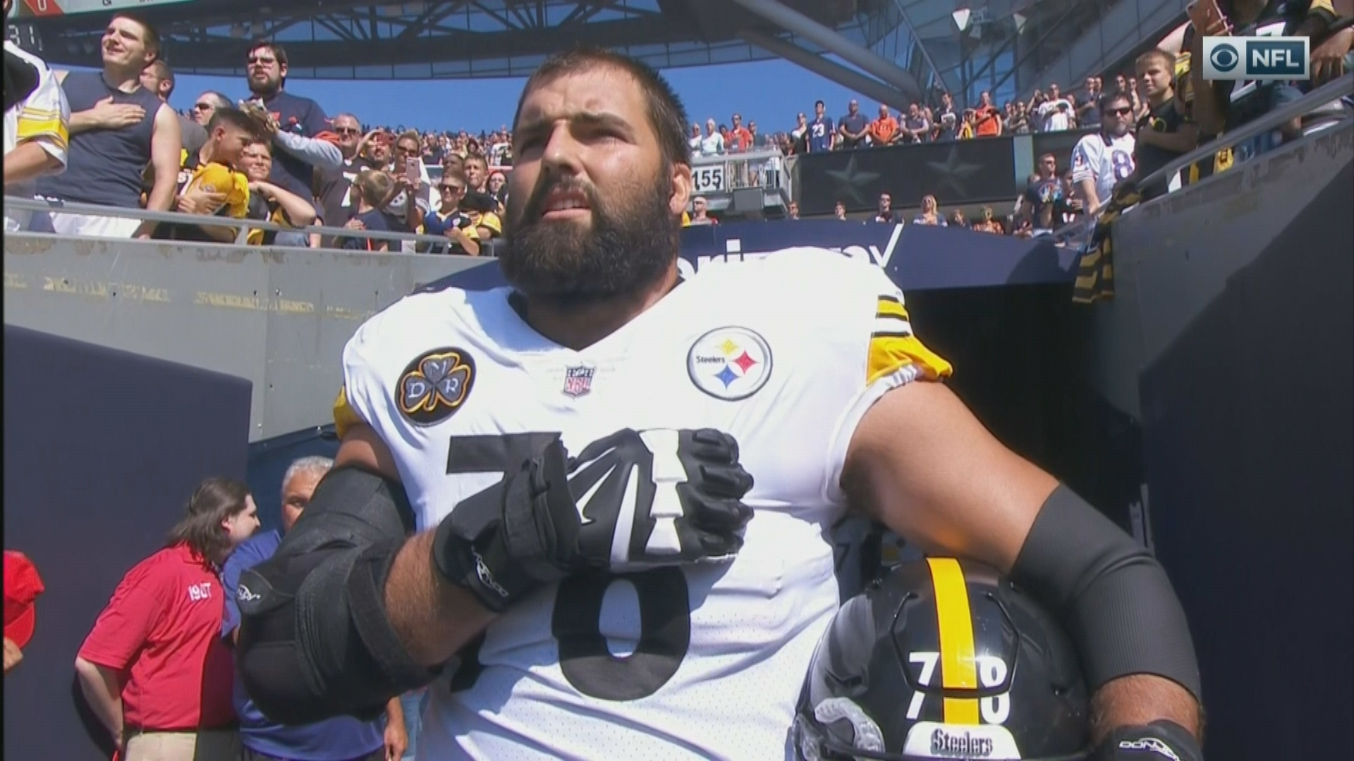 Image result for lone nfl guy standing for anthem