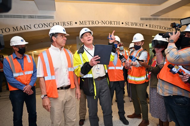 MTA Chief Development Officer Janno Lieber (right) and Governor Andrew Cuomo lead a tour of the East Side Access station beneath Grand Central Terminal, May 27, 2021.