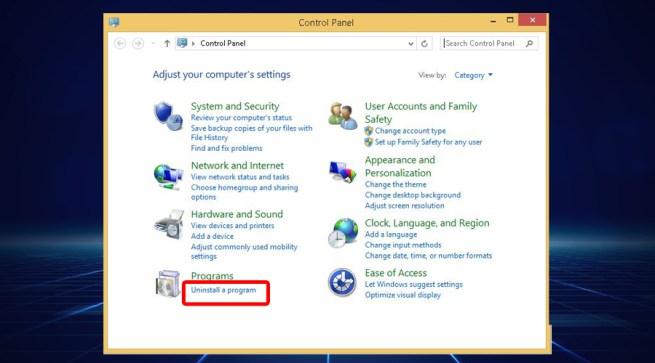 Windows shows control panel uninstall a program