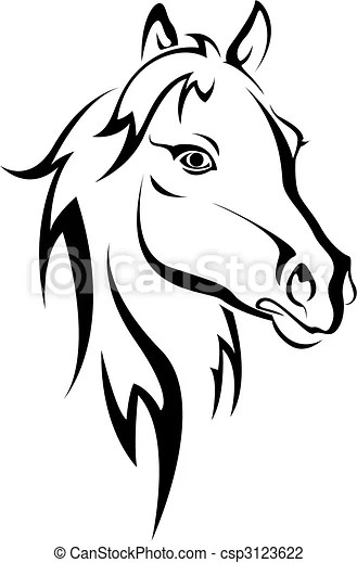 Horse Clipart Black And White : horse, clipart, black, white, Black, Horse, Silhouette, Isolated, White, Design., CanStock