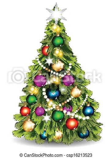 Realistic Christmas Tree Drawing : realistic, christmas, drawing, Christmas, Vector, Against, Whit., Illustration, Design, Realistic, Tree., CanStock