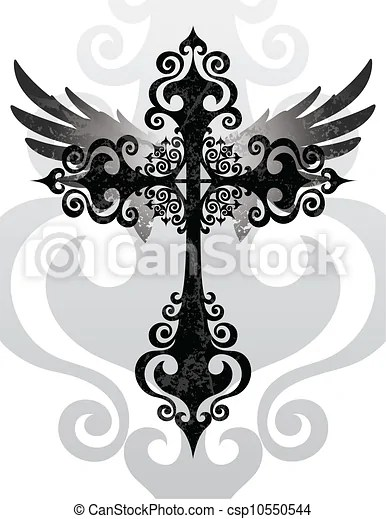 Cross With Angel Wings Drawing : cross, angel, wings, drawing, Cross, Wings., Stylized, Angel, CanStock