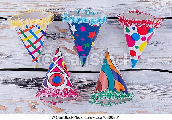 Funny Party Hats On Wooden Background Set Of Fancy Birthday Caps Top View Holiday Party Supplies Canstock