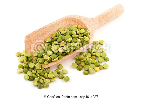 Green peas. Green broken peas on wooden spoon isolated over white background. | CanStock