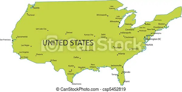 A map legend is a side table or box on a map that shows the meaning of the symbols, shapes, and colors used on the map. Map Of Usa With Major Cities Map Of United States Of America With Major Cities Vector Canstock