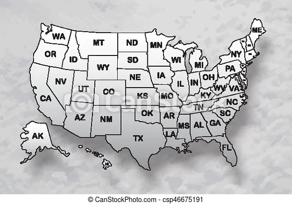 Maybe you're looking to explore the country and learn about it while you're planning for or dreaming about a trip. Poster Map Of United States Of America With State Names And Shadow On The Sky Background Black And White Print Map Of Usa Canstock