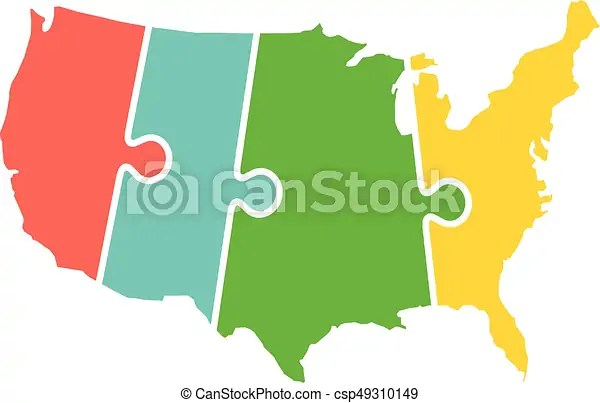 Just click on any state above and see the current time and date. United States Map Time Zones Puzzle Canstock