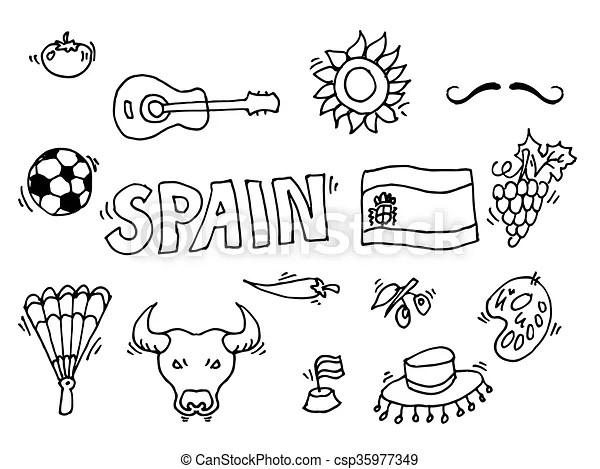 Symboles, spain., espagne, amour, doodles. 10, amour
