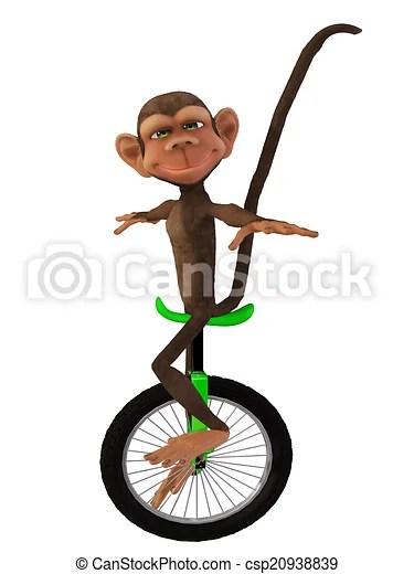 單輪腳踏車. 3d. 猴子. 卡通.   CanStock
