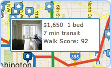 Screenshot of apartment search showing travel time by public transit