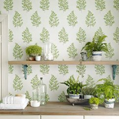 Wallpaper Ideas For Living Room Feature Wall Bassett Furniture Design Get The Look Direct Sanderson Angel Ferns Green Off White