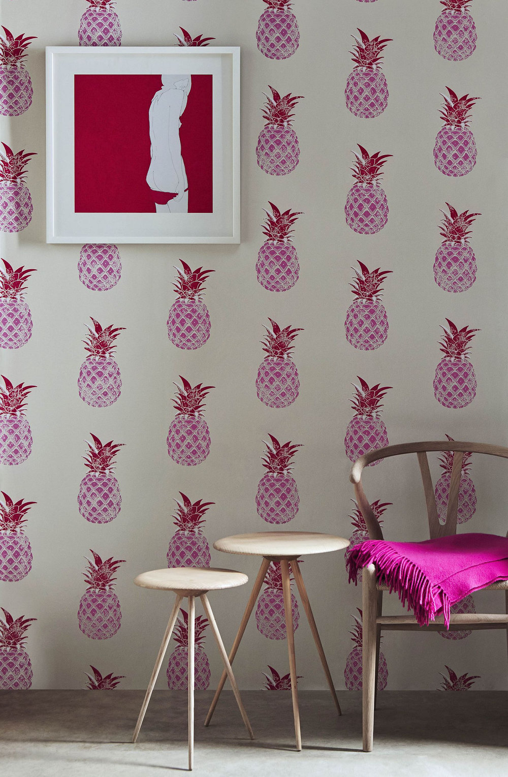 Pineapple by Barneby Gates  Red  Pink  Wallpaper Direct